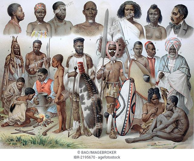 Ethnic groups of Africa: 1 Ashanti, 2 Loango woman, 3 Cameroon, 4 Baluba, 5 Somali, 6 Abyssinian woman, 7 Howa, 8 Herero women, 9 Ovambo, 10 Akka, 11 Zulu