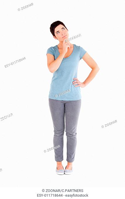 Thoughtful woman standing up