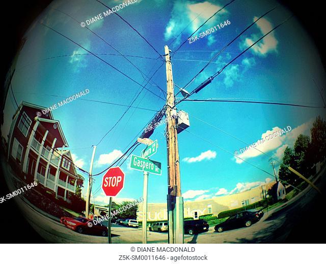 A fisheye lens view of the intersection of Gaspero Street N. e. And Auburn Aveenue N. E. In the historic Old Fourth Ward, Atlanta, Georgia