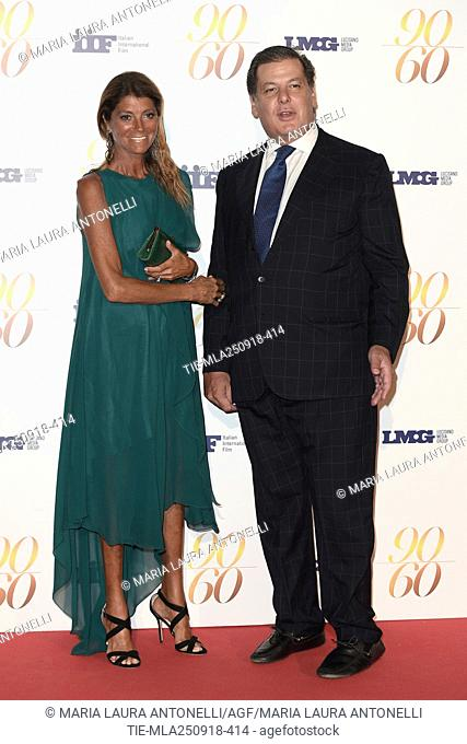 Vittoria Windisch Graetz and Manfred Windisch-Graetz during red carpet of 60/90 party, for 60 years of career and ninetieth birthday of Fulvio Lucisano