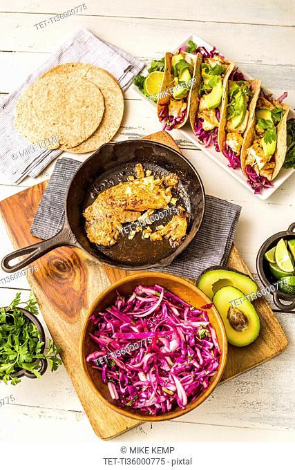 Fresh tortillas and ingredients