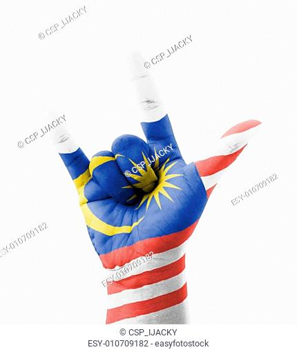 Hand making I love you sign, Malaysia flag painted
