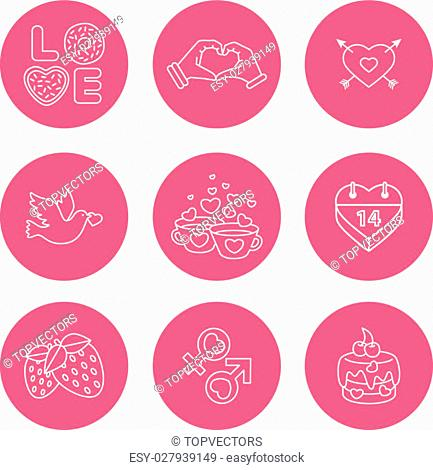 the best deal for your design. St. Valentine Day icons, thin line style, flat design