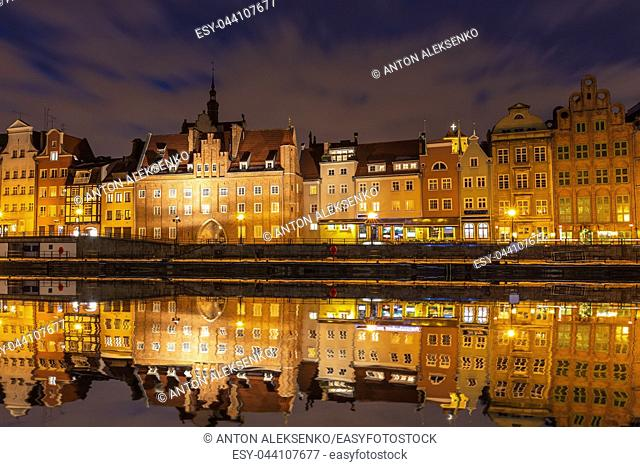 Gdansk night view, Motlawa river and Old Town houses, Poland