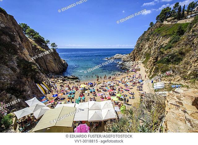 Codolar beach from Villa Vella, Tossa de Mar, Costa Brava, Catalonia, Spain