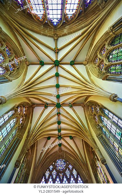 Vaulted ceiling of the chapel of the Bishops Palace of the the medieval Wells Cathedral built in the Early English Gothic style in 1175, Wells Somerset, England