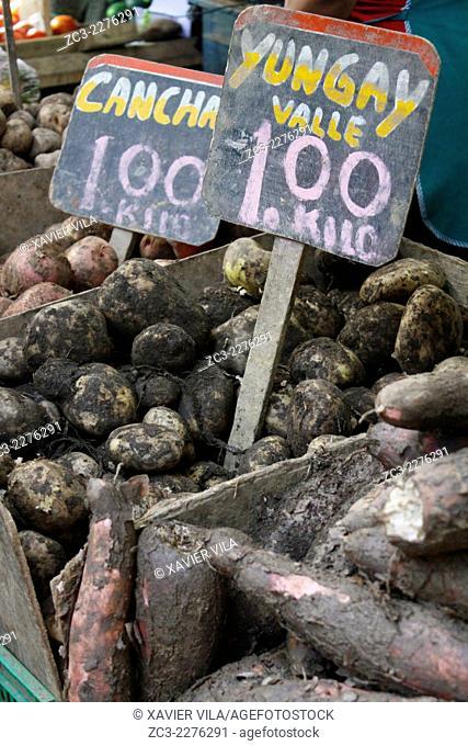 Local market with potatoes, popular district of San Martin de Porras, Lima, capital of Peru