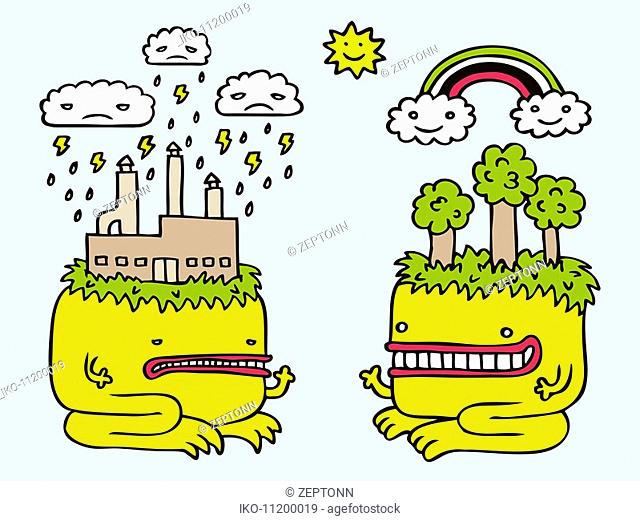 Polluting monster facing eco-friendly monster