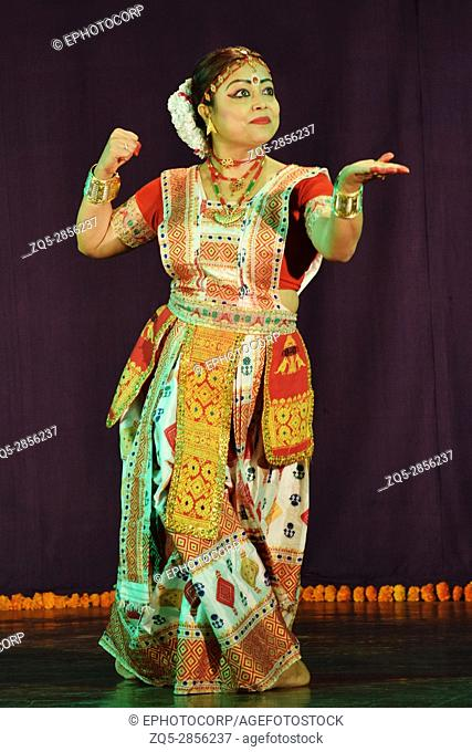 Popular Indian classical dance, Sattriya dance performed by girl, Pune, Maharashtra