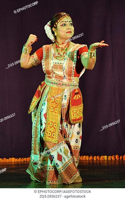 Popular Indian classical dance, Sattriya dance performed by girl, Pune, Maharashtra