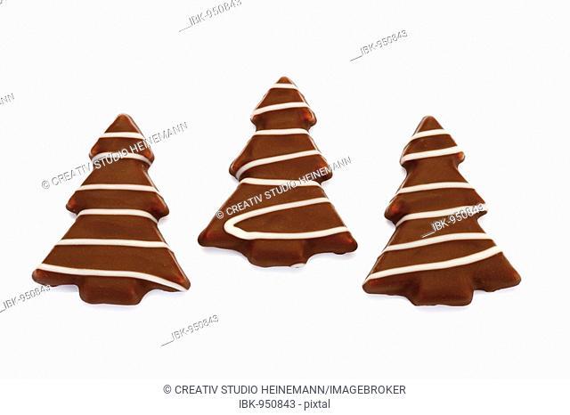 Chocolate coated marzipan Christmas trees