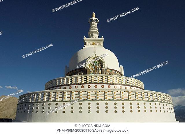 Architectural details of a stupa, Shanti Stupa, Leh, Ladakh, Jammu and Kashmir, India