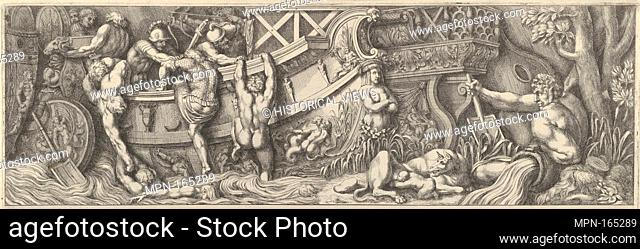 Plate 8: battle between soldiers on a boat and naked men trying to climb in, a river god at right. Artist: Pietro Santi Bartoli (Italian