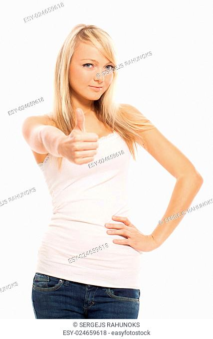 Young attractive woman posing isolated over white background
