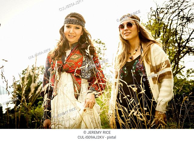 Hippy girls outdoors