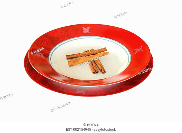 Cynamon on red plate