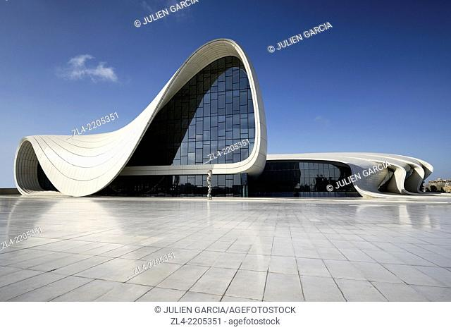 Heydar Aliyev cultural center futuristic monument designed by the architect Zaha Hadid. Azerbaijan, Baku