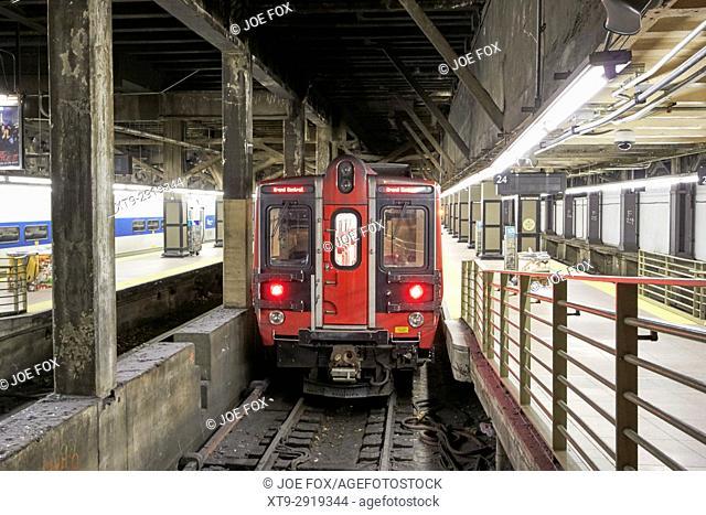 train at underground platform at grand central terminal New York City USA