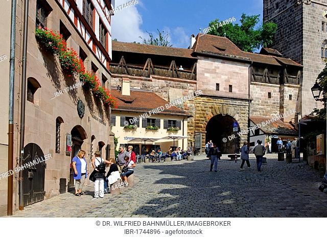 City wall at the Tiergaertner Tor gate, Nuremberg, Middle Franconia, Bavaria, Germany, Europe