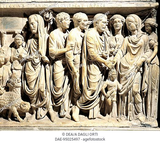 Italy - Latium region - Rome - Basilica of San Lorenzo fuori le Mura. Tomb of Cardinal Fieschi, Roman marble sarcophagus, 3rd century A.D