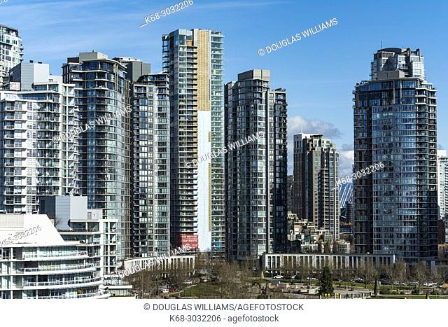 apartment towers on the north shore of False Creek, Vancouver, BC, Canada