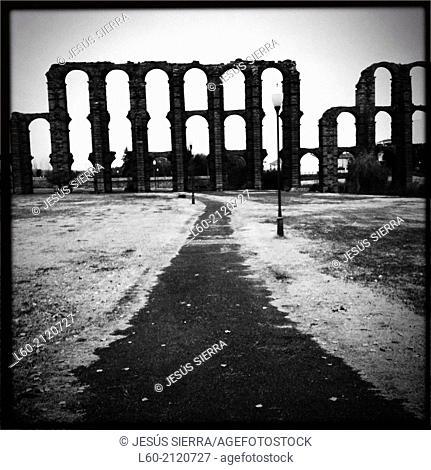 Los Milagros Roman aqueduct, Mérida. Badajoz province, Extremadura, Spain
