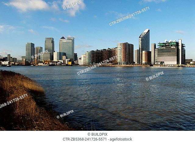 Canary Wharf and Docklands development on the Thames, East London, UK
