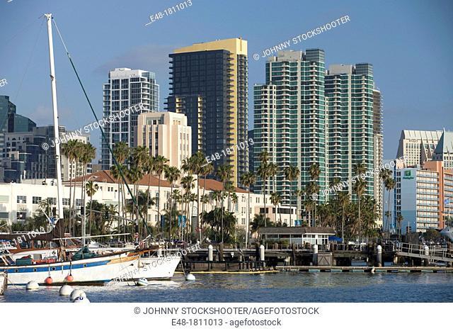 EMBARCADERO SKYLINE DOWNTOWN SAN DIEGO CALIFORNIA USA