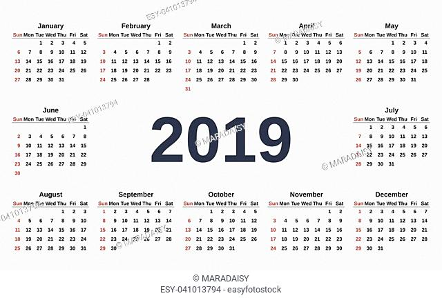2019 Calendar. Week starts Sunday. Vector. Stationery 2019 template with months of the year in simple style. Yearly calendar organizer for weeks on white...