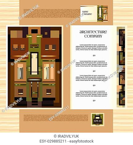 Architectural corporate identity template with historic mansion elements. Vector company style for brandbook and guideline. EPS 10