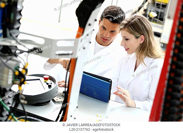Researchers working on portable robot. Aerospace industry. Technology and Research Center. Miramon Technological Park. San Sebastian. Donostia