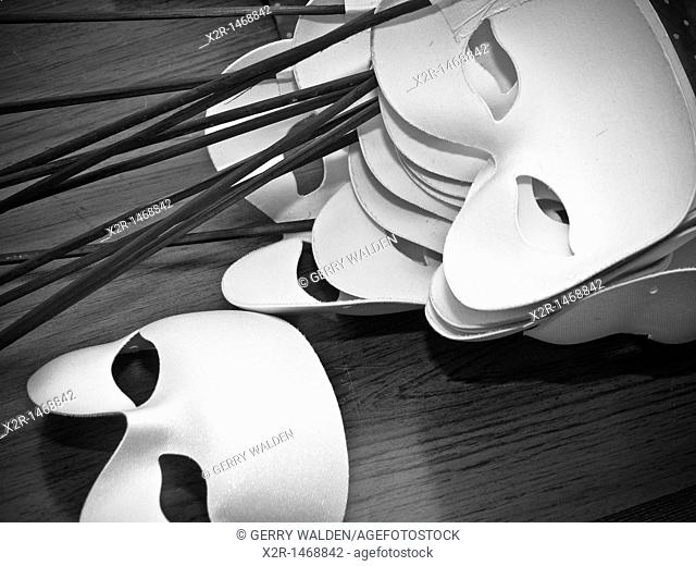 Face masks used by cast during the production of the opera Dido and Aeneas at the Turner Sims Concert Hall in Southampton, England