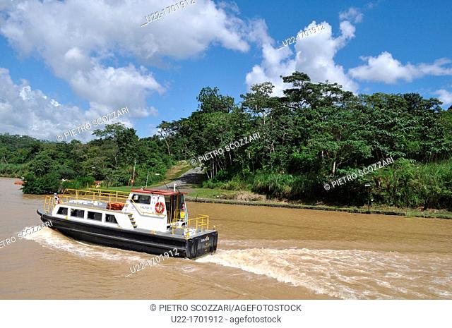 near Pedro Miguel Panama: boat along the Canal