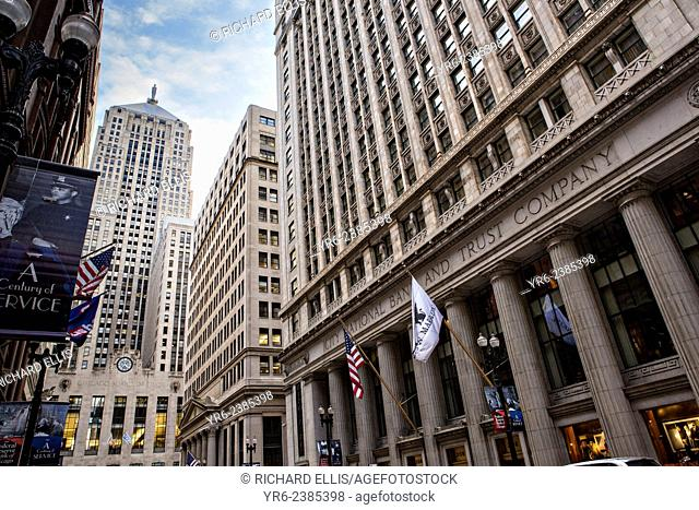Chicago Board of Trade building and the City National Bank and Trust Company from Lasalle Street Chicago, IL