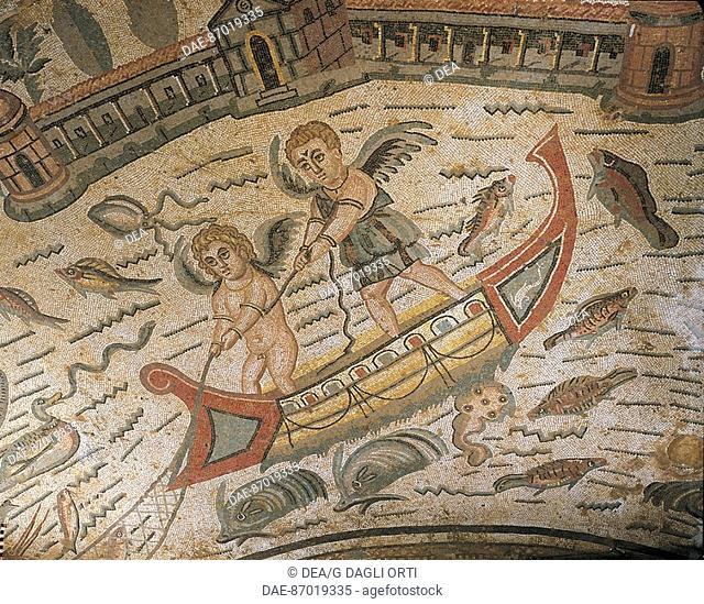 Mosaic depicting Cupids fishing, Villa Romana del Casale (UNESCO World Heritage, 1997), Piazza Armerina, Sicily. Roman Civilization, 4th Century