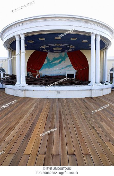 New decking with the bandstand full of old planks the day timber was washed up on the beach from the Greek registered Ice Princess which sank off the Dorset...
