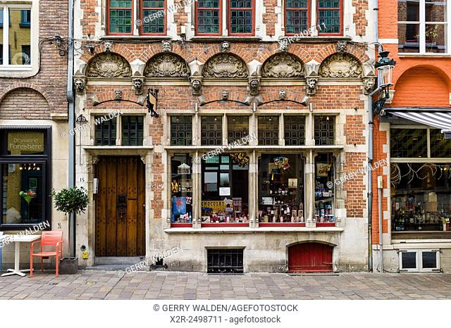 A typical historic store front in Brugge, Belgium. Situated on Acadamiestraat in the old town, this front was restored in the 19th century
