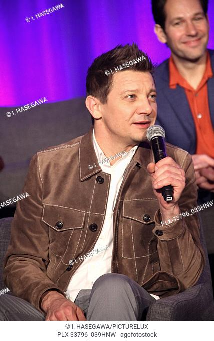 """Jeremy Renner 04/07/2019 """"""""Avengers: Endgame"""""""" Press Conference held at The InterContinental Los Angeles Downtown in Los Angeles, CA"""