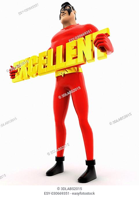 3d superhero holding excellent colourful text concept on white background, low angle view