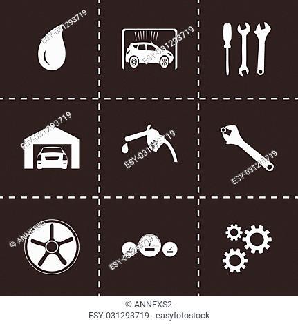 Vector black car service icons set on black background