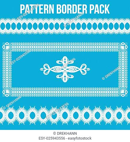 White Intricate Pattern Border Pack on Blue