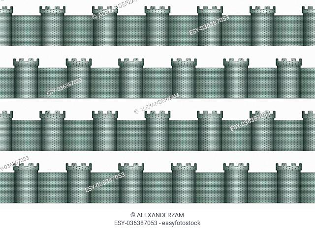 Seamless pattern of the towers and walls