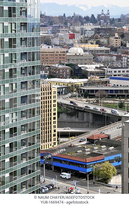 View of Seattle's Denny Triangle, Seattle, Washington, WA, USA