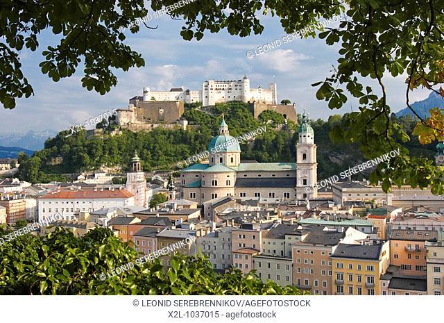 View from Kapuzinerberg mountain towards the old town of Salzburg  Austria