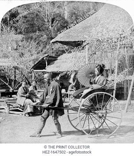 A morning ride in a jinrikisha (rickshaw), Sugita, Japan, 1896. Stereoscopic card. Detail