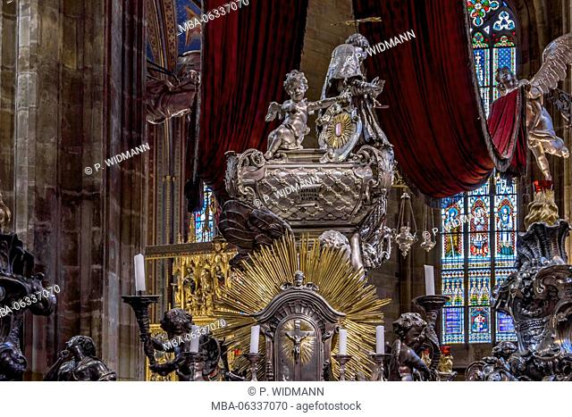 Tomb of Johann Nepomuk, St. Vitus Cathedral, Prague castle, Prague, Czechia, Europe