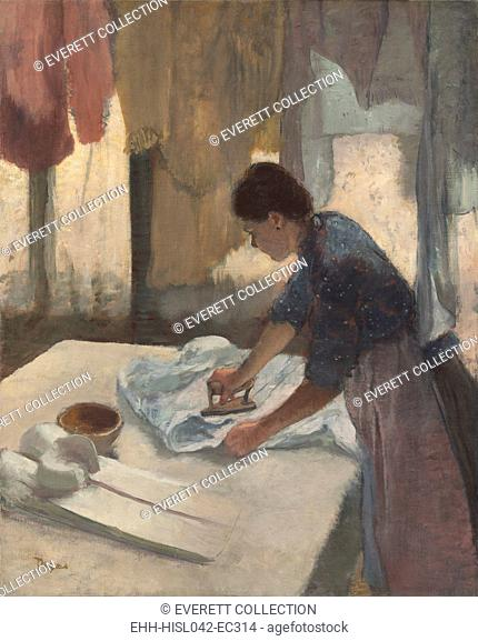 Woman Ironing, by Edgar Degas, 1878-87, French impressionist painting, oil on canvas. Degas was interested in laundresses' movements, postures