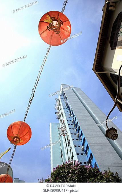 Lanterns and high rise in singapore china town