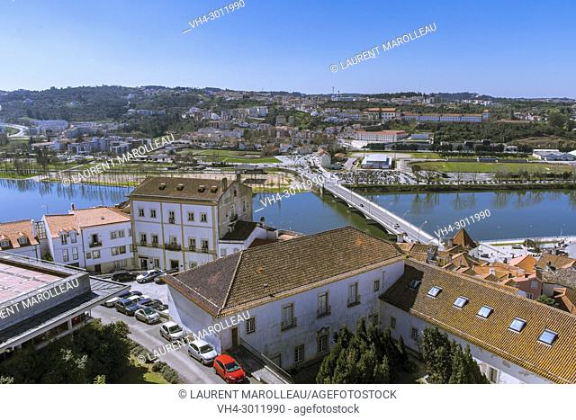 View of Mondego River with Santa Clara in the background, Coimbra, Baixo Mondego, Centro Region, Portugal, Europe