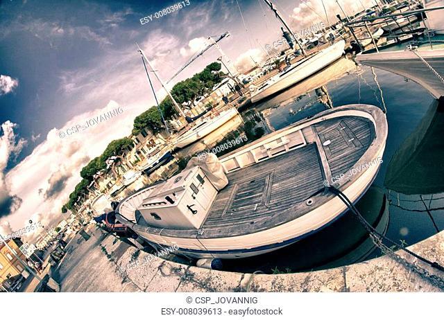 Old Boat anchored in Viareggio